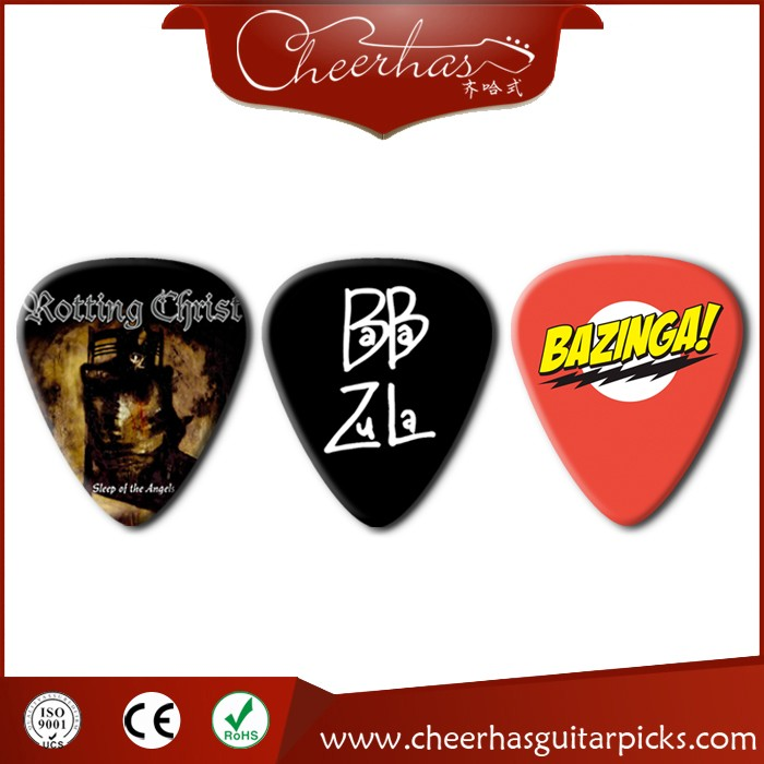 Celluloid guitar picks with band logo printed on 1 side