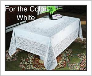 "Early American designs, Vinyl Lace Tablecloth. Elegant, easy-to-care for, light gauge vinyl. Machine washable. Dryer safe when you follow instructions included removes most wrinkles (60"" X 120""-White)"