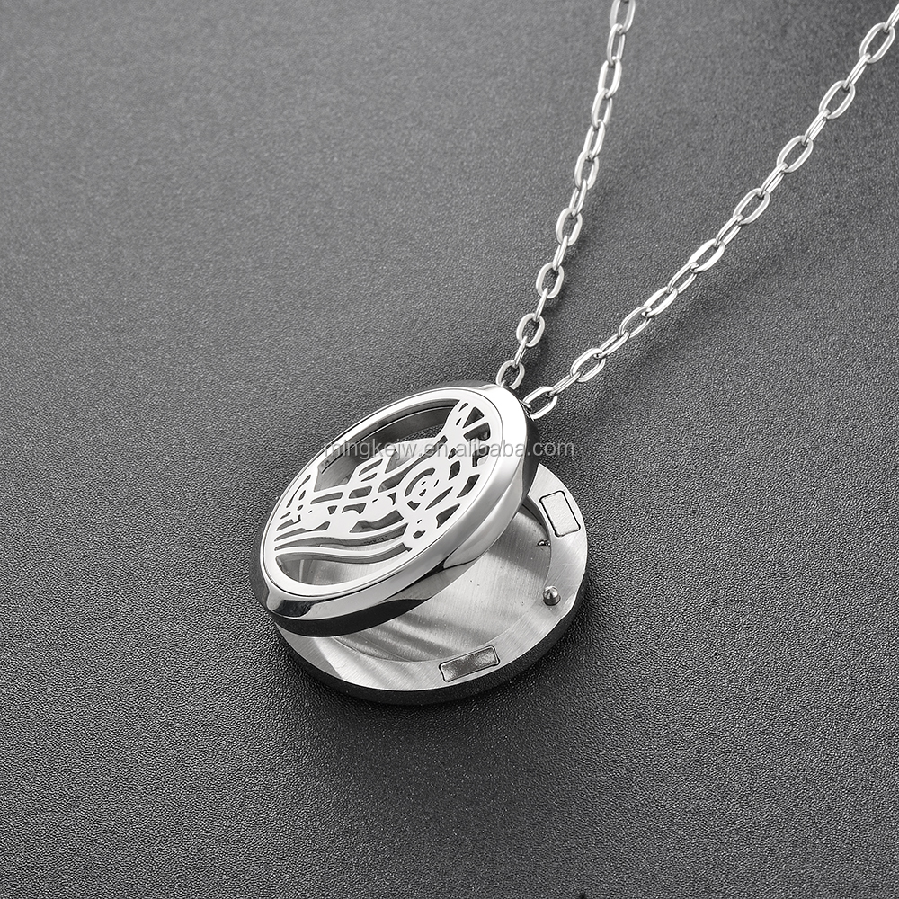Round Silver Musical Note (30mm) Essential Oils Diffuser Locket Aromatherapy Aroma Jewelry with Pads drop shipping