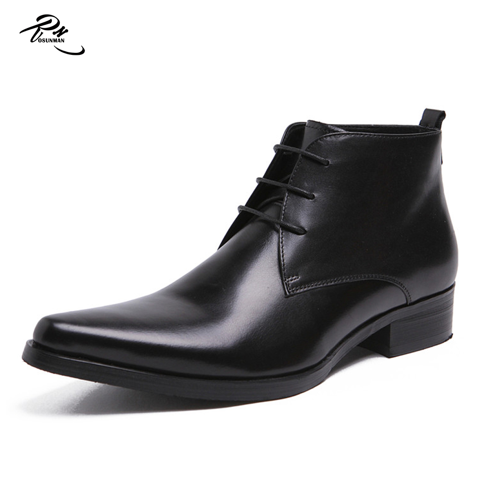 High Cut Black Leather Shoes