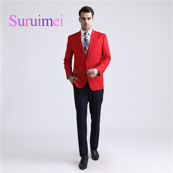 2018 Autumn Winter Latest Sexy Red Men Suits Two Buttons Men Suits