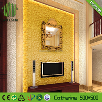 Brand New DIY Paintable 3D Wall Tile Decor Board Art Sticker Feature Waterproof bamboo fiber 3d Wall Panel for Living Room