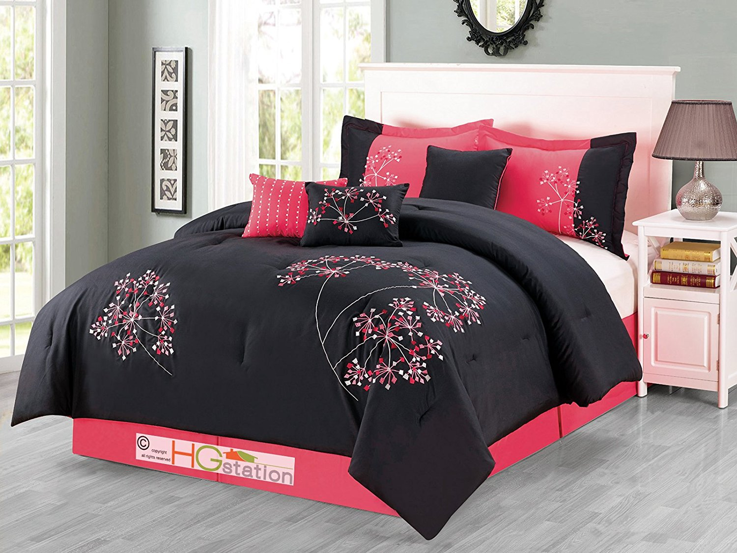 cheerful gray bedding. Get Quotations  7 Pc Cheerful Artsy Dandelion Floral Meadow Embroidery Comforter Set Black Hot Pink Queen Cheap find deals on