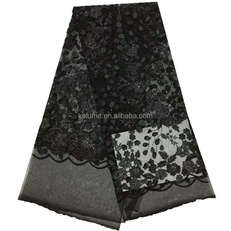 Embroidered Beaded French Lace 3D Flower Tulle Lace Fabric With Stones 3D Beaded Lace Fabric 761