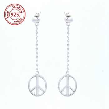Letter Peace Earring With Small Symbol Sign 925 Silver