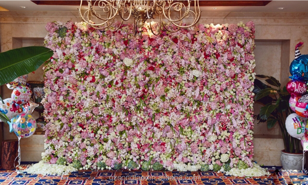 30sqm Colorful Artificial Flower Wall With Wholesale Silk