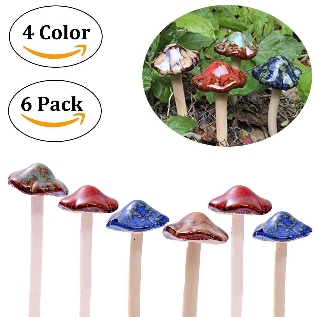 Aigel Ceramic Mushrooms Figurine Garden Decor,Garden Decorative Stakes,Lawn Mushrooms Decor, Garden Pots Decoration Pottery Ornament for Fairy Garden Flowerpot Outdoor Statue [ 4-Colour 6-Pieces ]