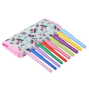 New 2.0mm-6.5mm 10pcs/Set Crochet Hooks Knitting Needles Multi-color Smooth Plastic Grip Handle With Case crochet hook case