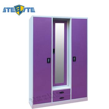 Modern Cabinet Bedroom 3 Door Wardrobe With Mirror / Iron Almirah