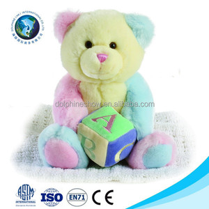 Custom colorful cute soft baby toy stuffed plush rainbow teddy bear doll with dice