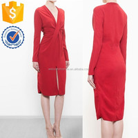 Newest collection long sleeve sexy red V neckline a central slit innovative front knot midi dress