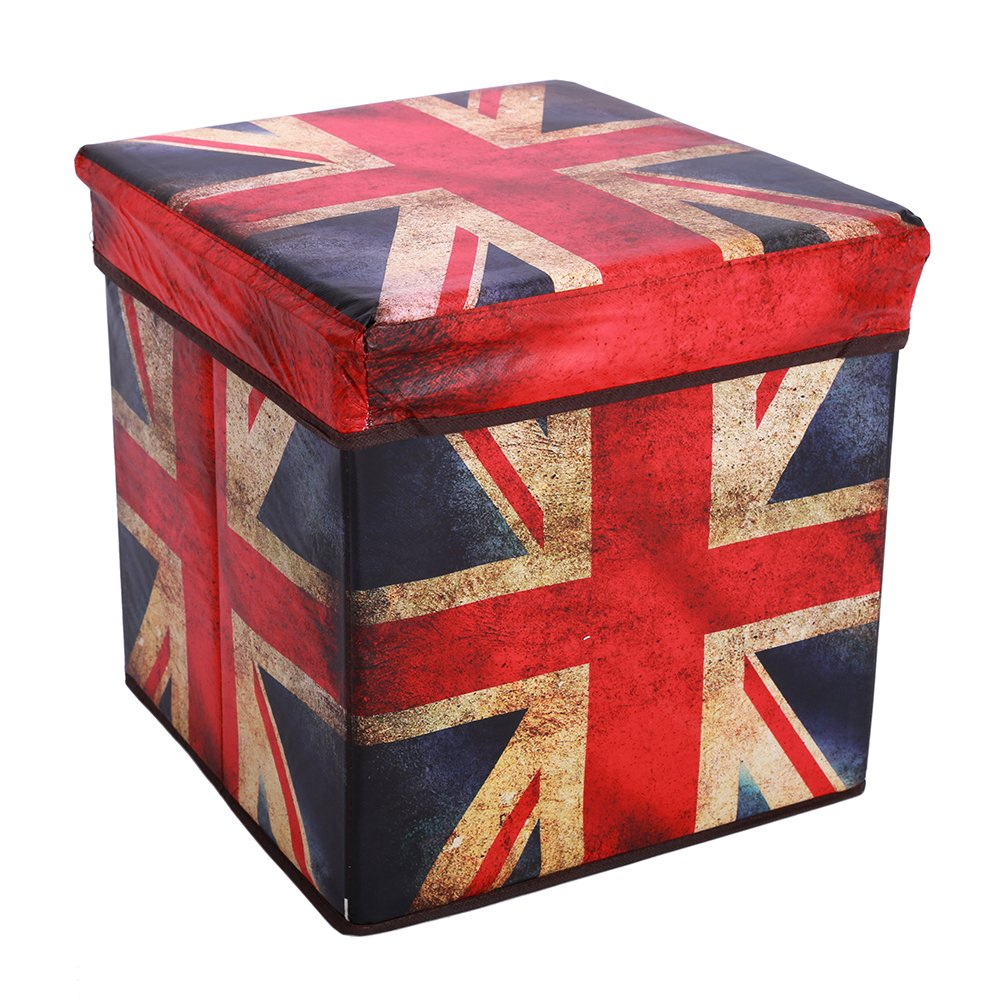 Get Quotations · Retro Multifunctional Storage Ottoman, Foldable Non Woven  Fabrics Cube Footrest Stool Seat With Organizer