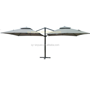 Rainproof Side Pole Double Roof Outdoor Hanging Twin Umbrella For Restaurant And Hotel