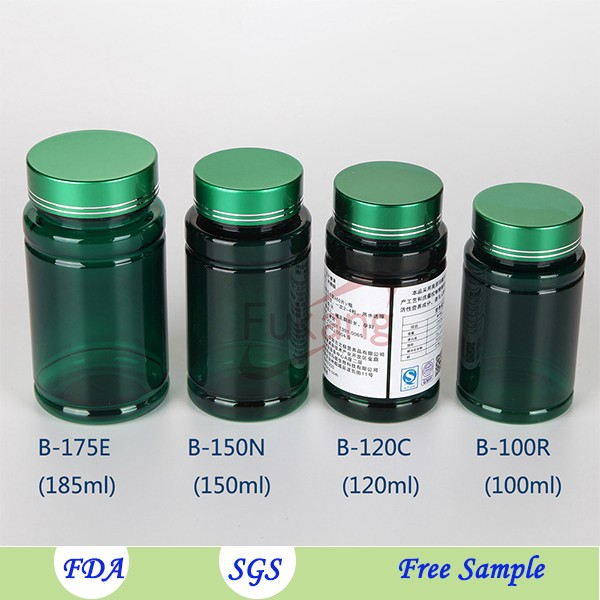 150ml empty vitamin supplement bottles plastic with double caps.150cc plastic pill bottles flat on sale