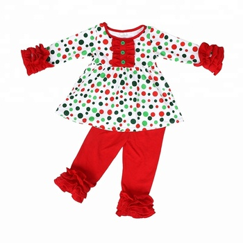2018 girls winter christmas clothes kids redgreen polk dot tunic top with ruffle pants outfits set - Christmas Clothes For Kids