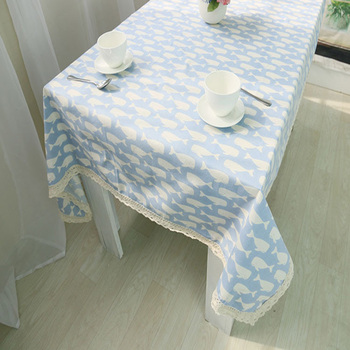 Cotton And Linen Print Fish Fabric Painting Designs On Table Cloth