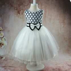 Cute White Kids Party Wear Dress Pettiskirt BABY Girl Birthday Party Dresses For 2-10 Years Children Wear Dress
