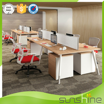 Wooden Partition Divider Furniture 4 Person Staff Desk MFC Board Table Top  And Metal Frame