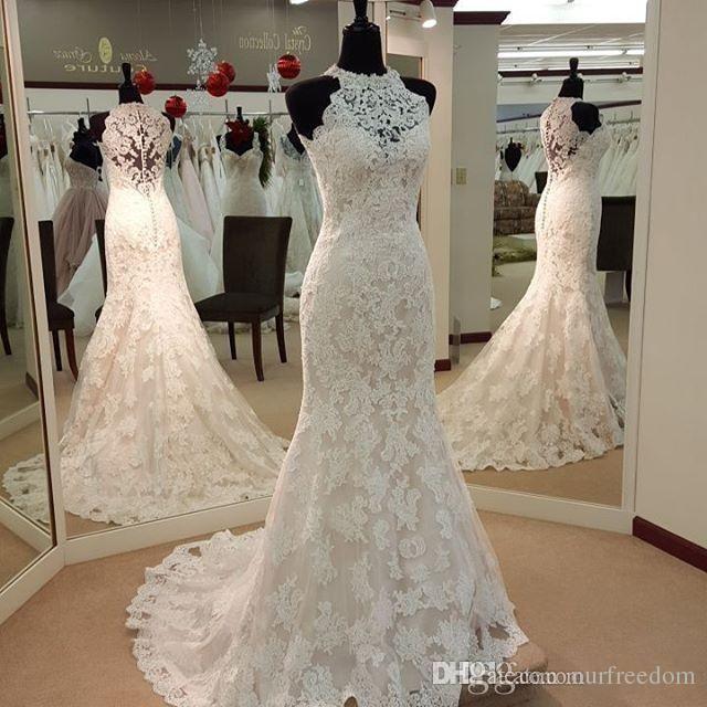 b0846af0558 Vintage Full Lace Mermaid Wedding Dresses High Neck Evening Gown ...