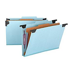 "Smead FasTab Hanging Pressboard Classification File Folder with SafeSHIELD Fasteners, 1 Divider, 2"" Expansion, Legal Size, Blue, 10 per Box (65155)"