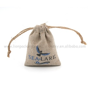 Promotional custom logo flax gift pouch linen drawstring jewelry bag