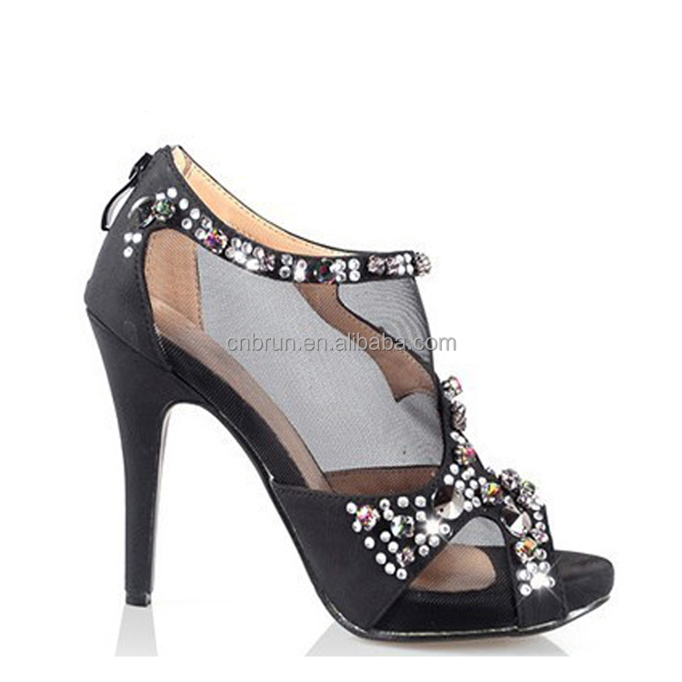 New Designer Diamond Decoration Dressing High Heel Shoes Sandals black