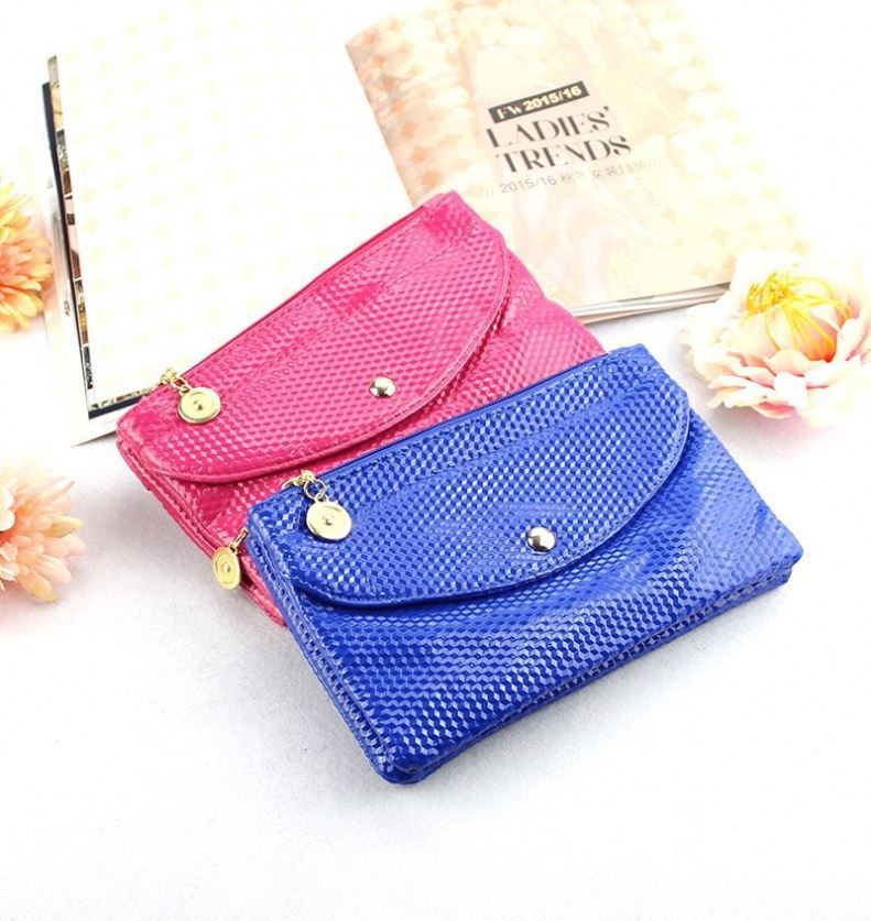 Women pu leather wallets satin bags for jewelry