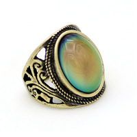 Boy Single Wood Eye Design Men Stainless Steel Stone Gold Ring