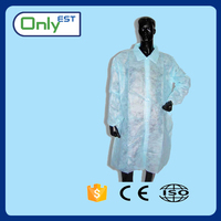 Disposable Polypropylene cheap non woven white doctor lab coat with CE