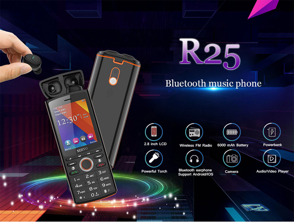 SERVO R25 keypad mobile phone  with TWS Bluetooth 5.0 Wireless earphone GSM GPRS Cell Phone