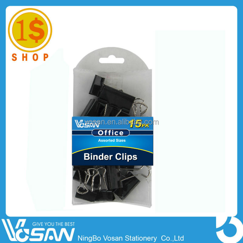 1 Dollar Shop Binder Clips 3 sizes-FBS1009 With Logo Printing Different Kinds Paper Clips