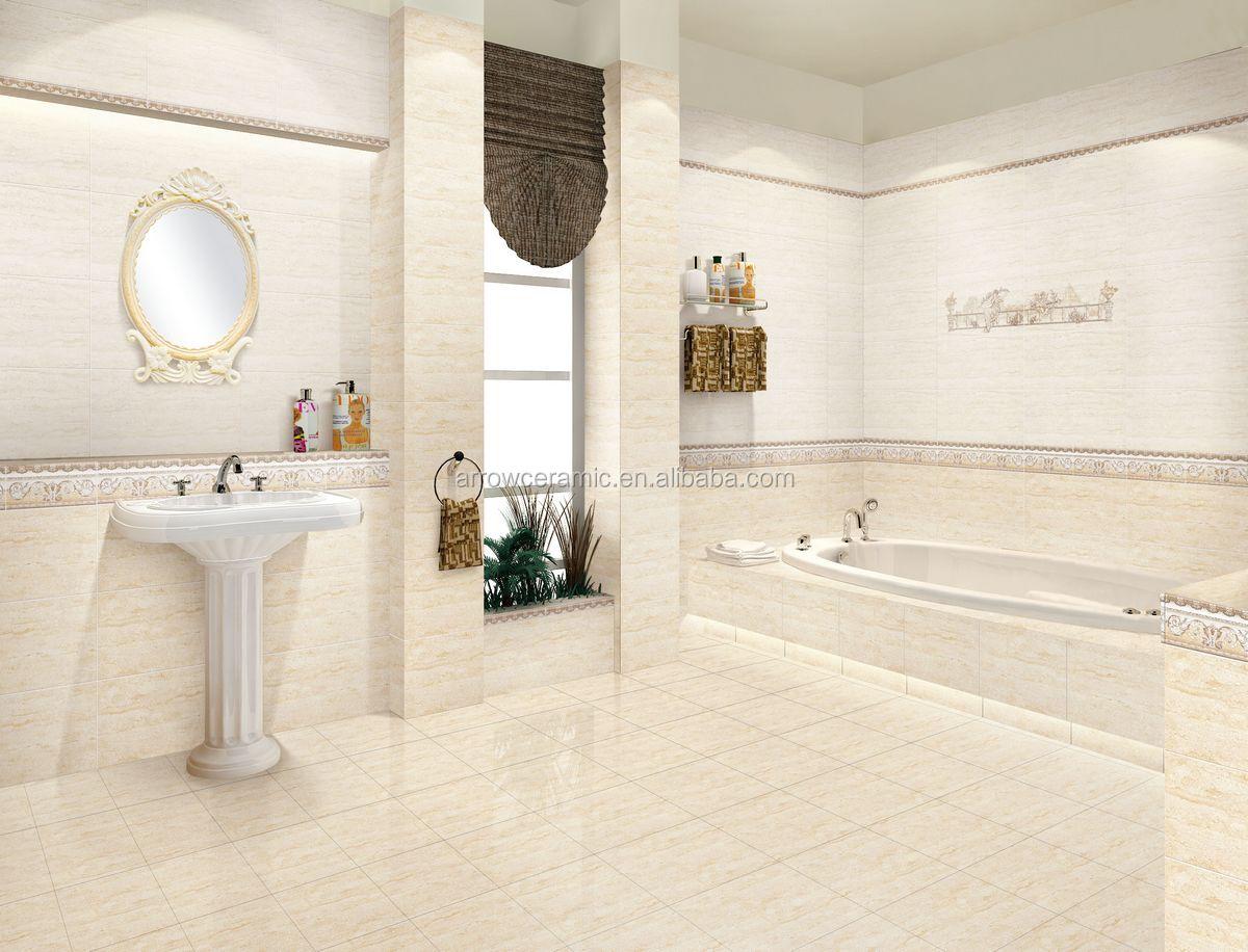 Glazed Cream White Color Ceramic Wall Tiles Looks Like Travertine ...