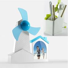 Multifunction 3 in 1 Windmills Mini USB fan with photo frame & pen holder, USB Cartoon Fan with Soft Fan Blade for desktop gifts