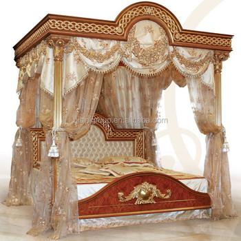 Luxury Bedroom Furniture Wooden Bedroom Set Antique Canopy