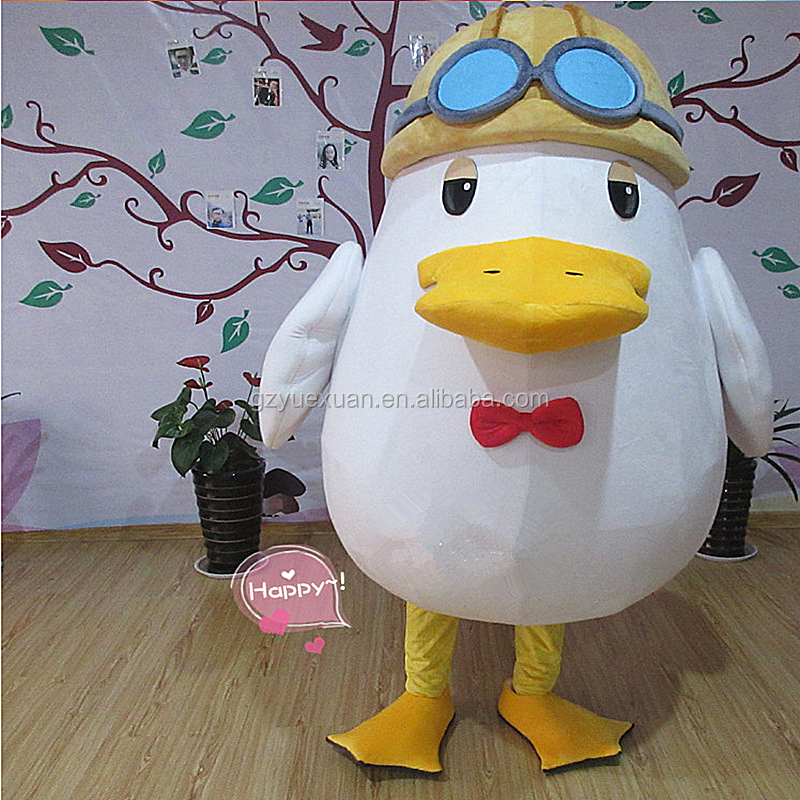 Custom lovely plush yellow duck mascot costume cartoon for advertising promotion