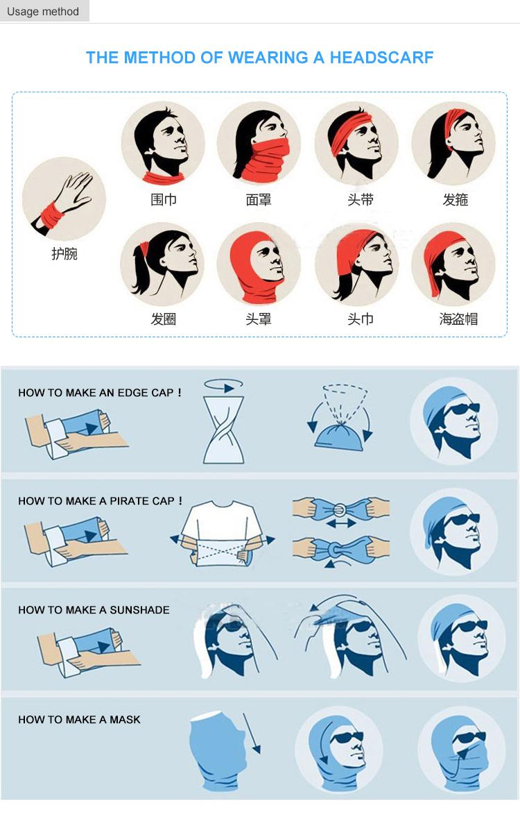 2018 Heat transfer printing magic multifunctional headwear bandana