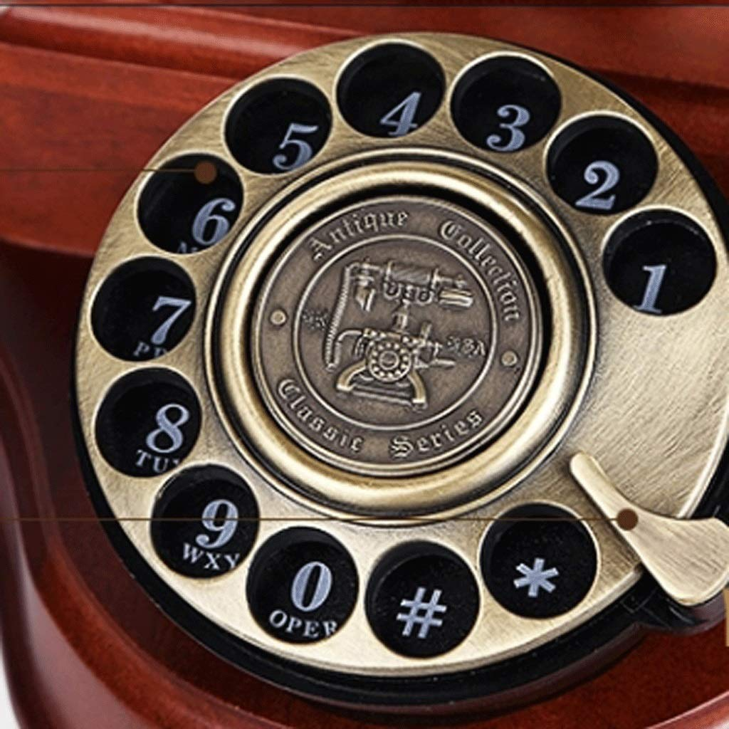 HY Solid Wood Antique Rotating Dial Telephone Landline Used for Household Business Decoration (Color : Rotating)