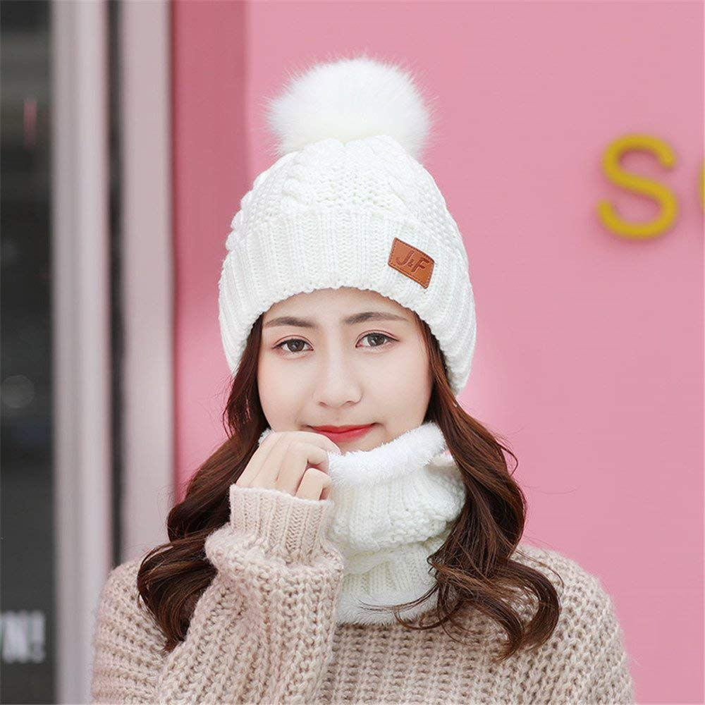 467c0cc09df Get Quotations · Women children sweet ear cap hat scarf two piece set in  autumn and winter with warm