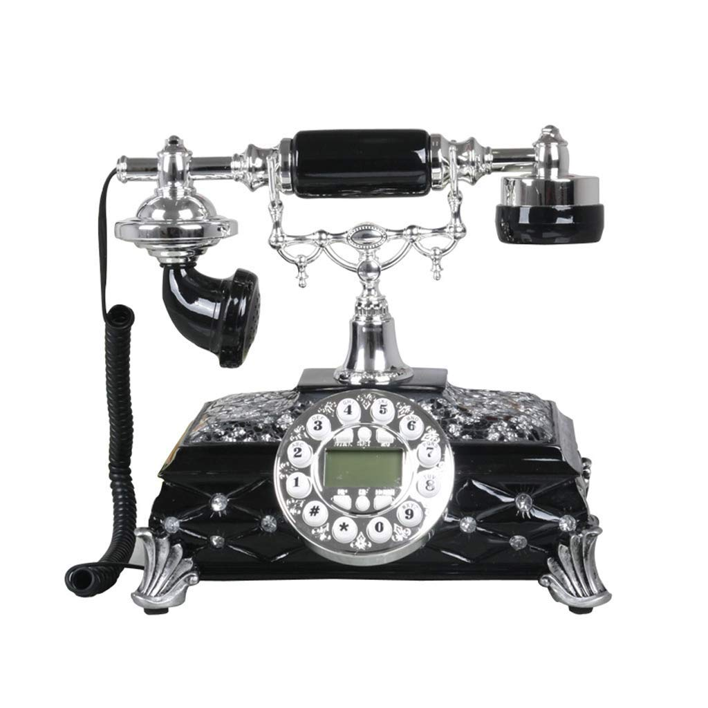 Diamond Simple Business New European Telephone Landline Princess Home Fixed Landline Retro Creative Bedroom Living Room Office Gift Landline (Color : Black)