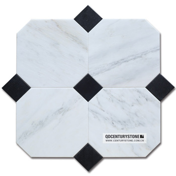 Square Mix Octagon Black And White Mosaic Bathroom Marble Floor