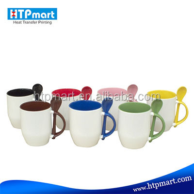 Cheap wholesale Customized ceramic spoon mug/sublimation mug with spoon