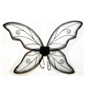 Black paint glitter white angel wing silk butterfly fairy wing fairy party decoration