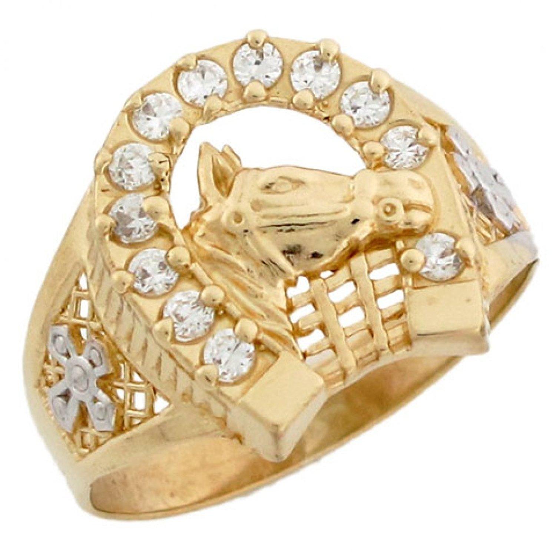 1fa1c74901e85 Buy Mens Diamond Lucky Horseshoe Ring 10K White Gold in Cheap Price ...