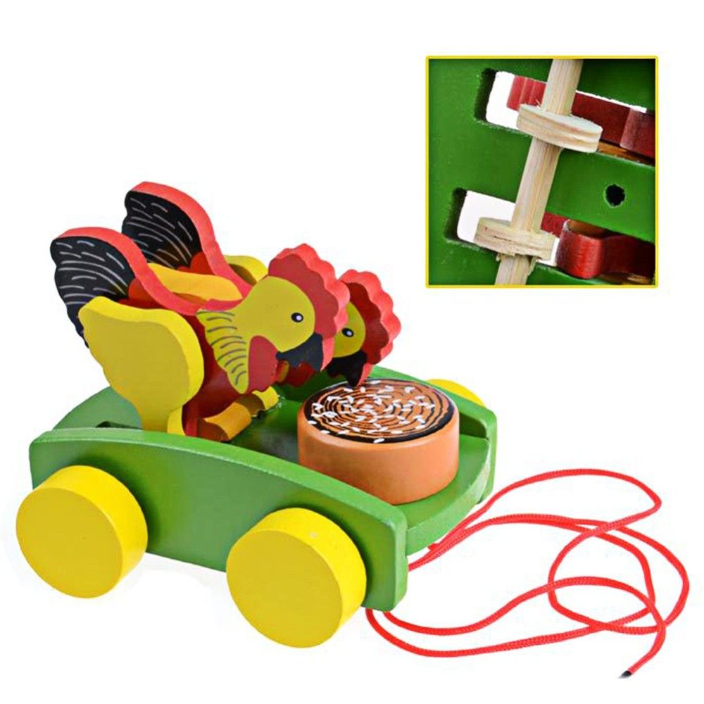 Wooden Cock Pecking Rice Toy Mini Trailer Car Lovely Animal Cock Pull Car  Early Educational Toddler Learning Walk Guide Toy - us663 f4b4403592a3
