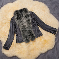 fashion leather clothing with fur ladys winter coat