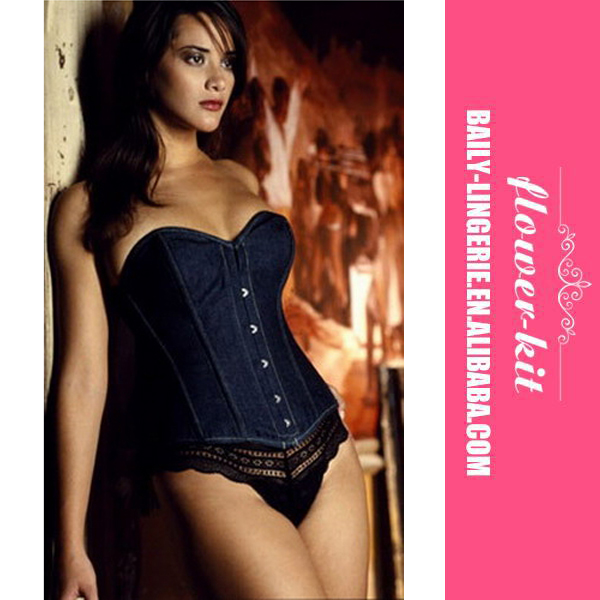 Sexy Women Elegant Blue Jeans Corset Underwear For Party