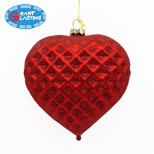 Jeweled facet blown glass heart shape ornament, Christmas tree ball wholesale