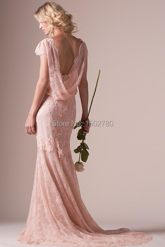 robe de mari e rose pale dentelle. Black Bedroom Furniture Sets. Home Design Ideas