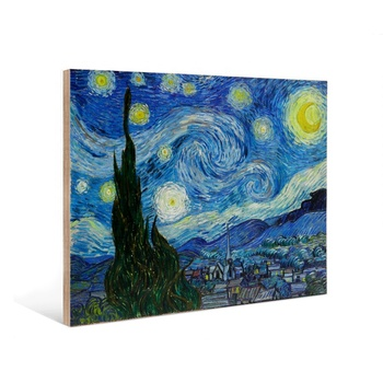 Customized Decorative Wall Art Starry Night Painting A1 A2 A3 A4 Size Wood Photo Prints for Hotels