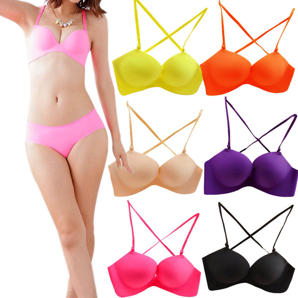 2015 New Fashion Lady Sexy Strap Cross Non-trace Underwear Round Up Bra Different Colors
